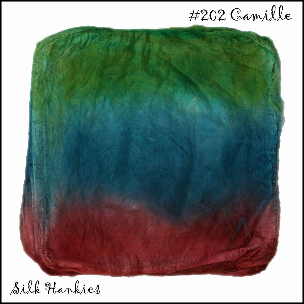Frabjous Fibers Hand Dyed Silk Hankies Camille 202 - 12