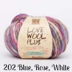 Katia Love Wool Plus Yarn 202 Blue, Rose, White - 4