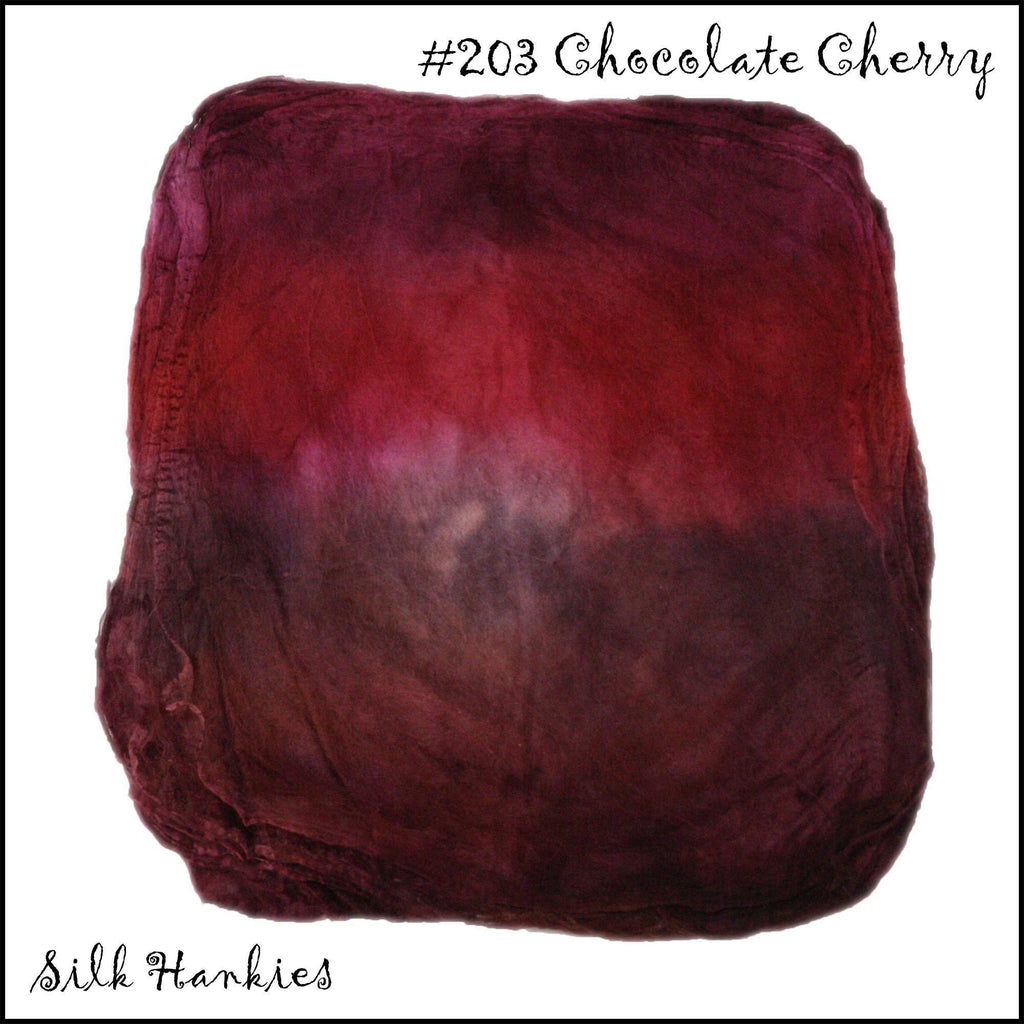 Frabjous Fibers Hand Dyed Silk Hankies Chocolate Cherry 203 - 13