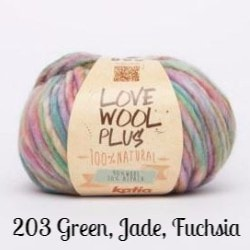 Katia Love Wool Plus Yarn-Yarn-203 Green, Jade, Fuchsia-