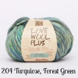 Katia Love Wool Plus Yarn-Yarn-204 Turquoise, Forest Green-