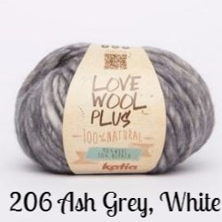Katia Love Wool Plus Yarn 206 Ash Grey, White - 8