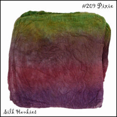 Frabjous Fibers Hand Dyed Silk Hankies Pixie 209 - 19
