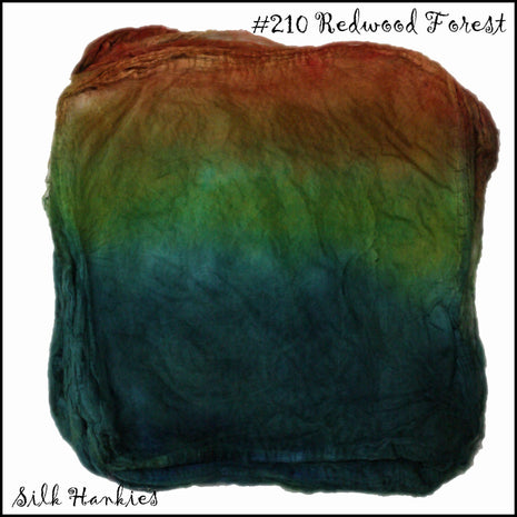 Frabjous Fibers Hand Dyed Silk Hankies Redwood Forest 210 - 20
