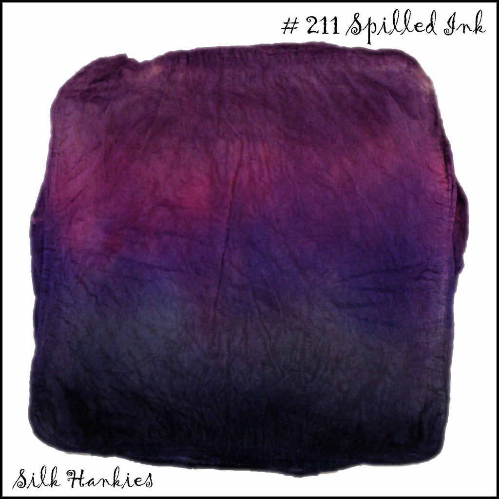 Frabjous Fibers Hand Dyed Silk Hankies Spilled Ink 211 - 21