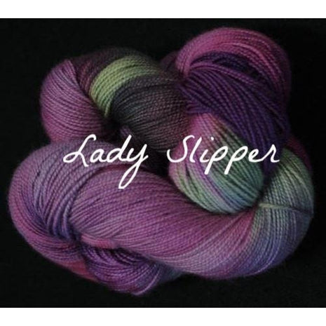 Paradise Fibers Yarn Done Roving Frolicking Feet Sock Yarn Lady Slipper - 6