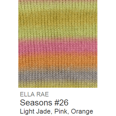Ella Rae Seasons Yarn Light Jade/Pink/Orange #26 - 10