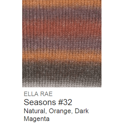 Ella Rae Seasons Yarn Natural/Orange/Dark Magenta #32 - 16