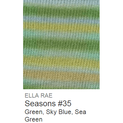Ella Rae Seasons Yarn Green/Sky Blue/Sea Green #35 - 19