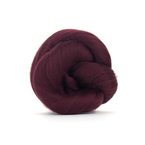 Paradise Fibers Solid Colored Merino Wool Top - Burgundy