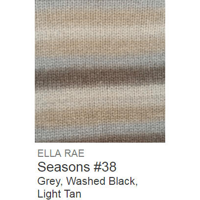 Ella Rae Seasons Yarn Grey/Washed Black/Light Tan #38 - 22