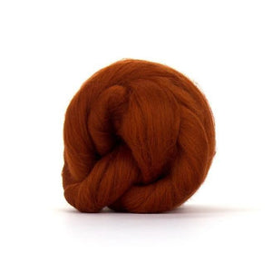 Paradise Fibers Solid Colored Merino Wool Top - Rust-Fiber-4oz-