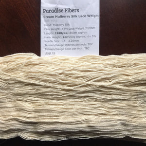 Paradise Fibers Undyed Yarn Paradise Fibers Undyed Mulberry Silk Lace Weight Yarn 20/2  - 3