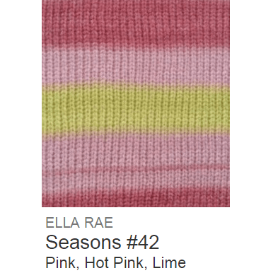 Ella Rae Seasons Yarn Pink/Hot Pink/Lime #42 - 26