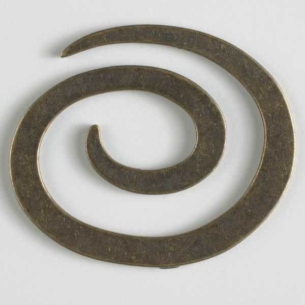 Dill Button Full Metal Spiral Closure - Antique Brass 50mm 480907