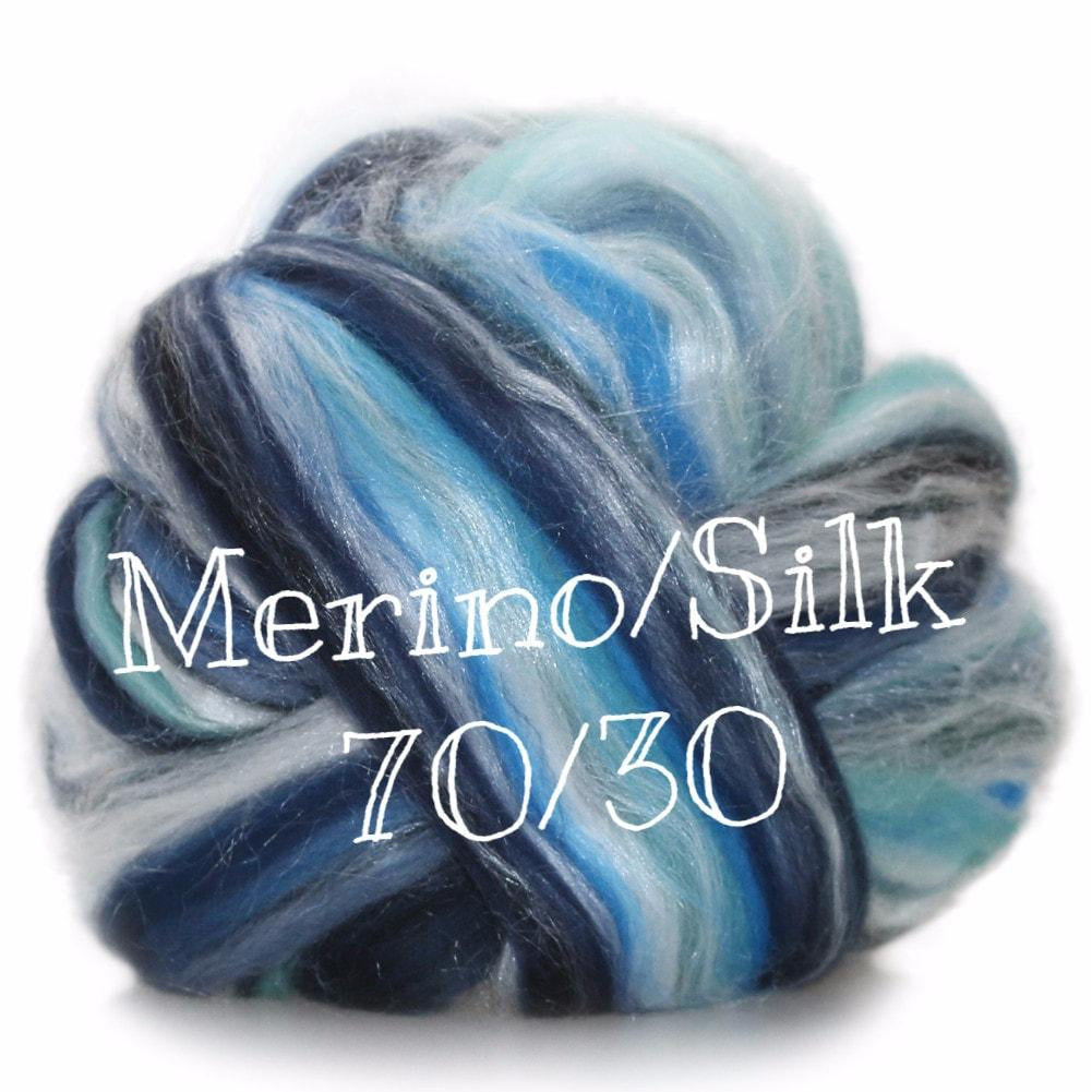 Ashland Bay Multi Merino/ Silk Blend Rovings  - 1