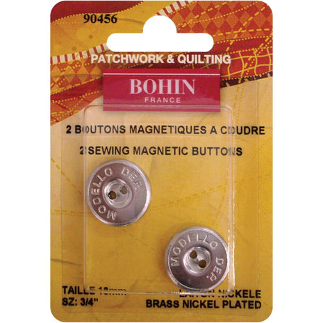 "Bohin Magnetic Sew-On Buttons - 3/4"" (2 Pack)-Notions-Paradise Fibers"