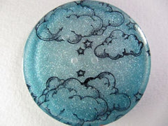 "Handmade Resin Buttons - 1 1/2"" diameter Blue Clouds - 3"