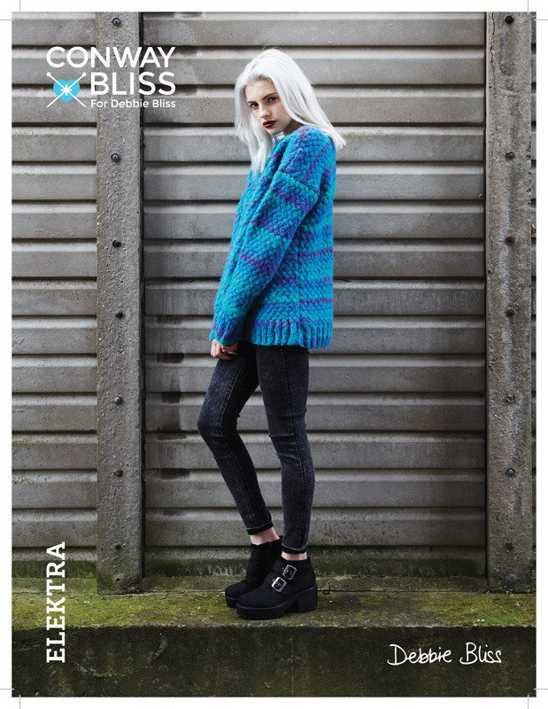 Conway + Bliss for Debbie Bliss Elektra Lattice Stitch Sweater Pattern