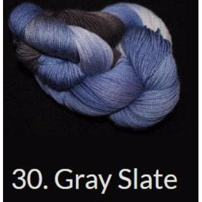 Done Roving DK Frolicking Feet Yarn Gray Slate 30 - 12