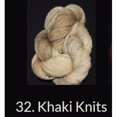 Done Roving DK Frolicking Feet Yarn Khaki Knits 32 - 14