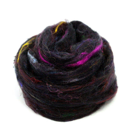 Recycled Sari Silk Pulled Rovings-Fiber-Mint Fabrics-Midnight Rainbow-4oz-Paradise Fibers