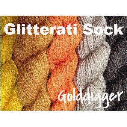 Sweet Georgia Yarns *LIMITED EDITION* Party of Five Mini-Skein Sets Glitterati Sock / Golddigger - 4