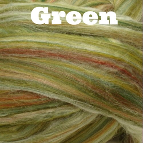 Ashland Bay Multi Merino/ Silk Blend Rovings 4oz / Green - 4