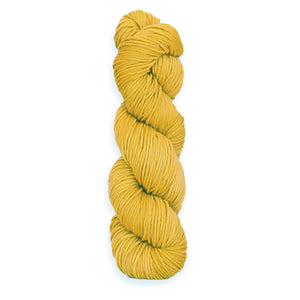 A twisted hank of Harvest Worsted hand-dyed a golden yellow with Buckthorn.