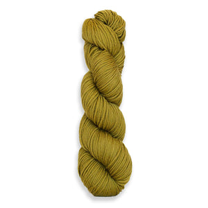A twisted hank of Harvest Worsted hand-dyed an olive green with Figs.
