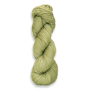 A twisted hank of Harvest Worsted hand-dyed a light dusty green with Grape Leaves.