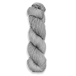 A twisted hank of Harvest Worsted hand-dyed light silvery grey with Mint.