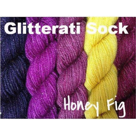 Sweet Georgia Yarns *LIMITED EDITION* Party of Five Mini-Skein Sets Glitterati Sock / Honey Fig - 5