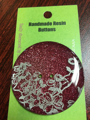 "Handmade Resin Button - approx. 2"" diameter-Button-Red Glitter-"