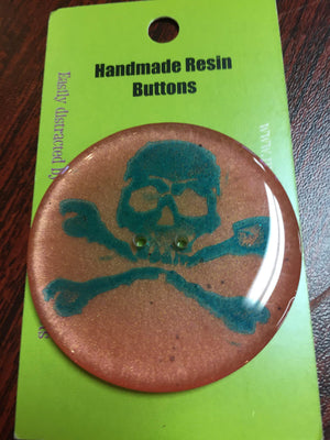 "Handmade Resin Button - approx. 2"" diameter-Button-Skull and Crossbones-"