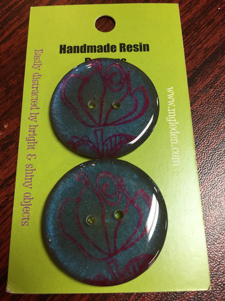 "Handmade Resin Buttons - 1 1/4"" diameter Purple Floral - 4"