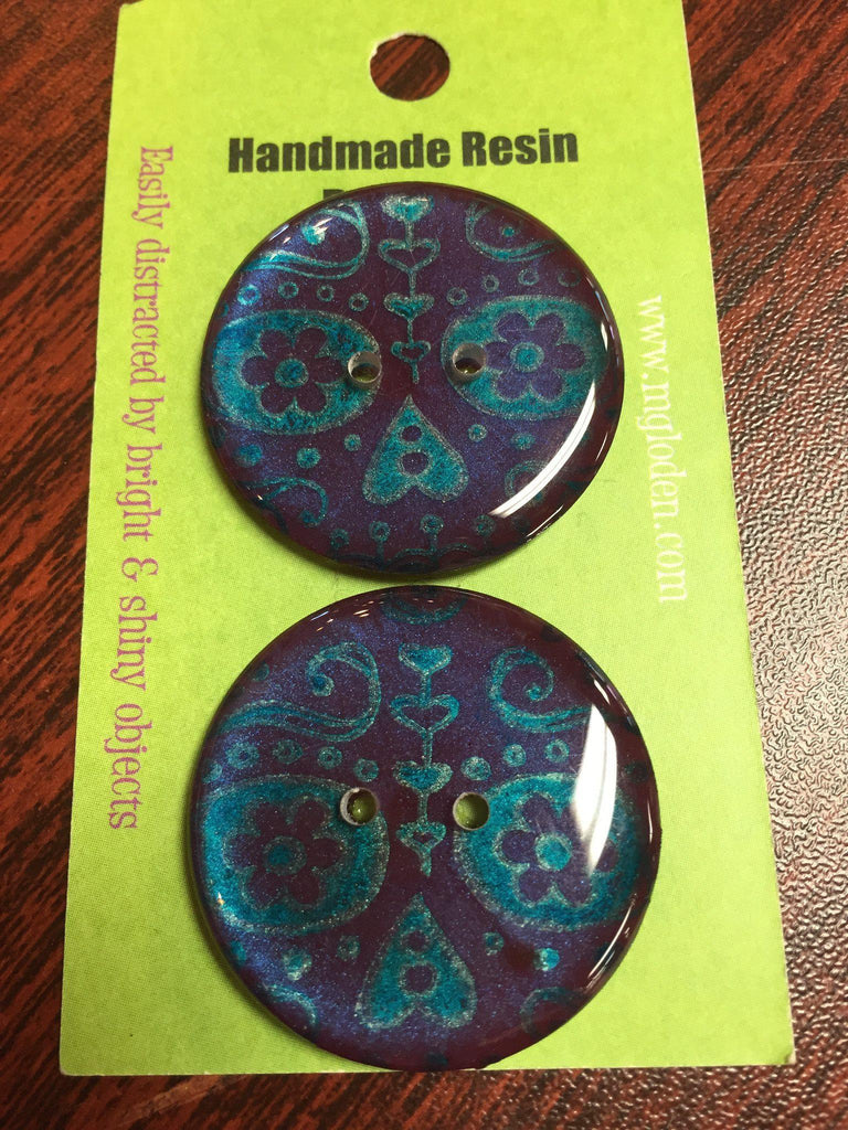 "Handmade Resin Buttons - 1 1/4"" diameter Blue Print - 2"