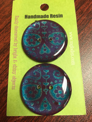 "Handmade Resin Buttons - 1 1/4"" diameter-Button-Blue Print-"