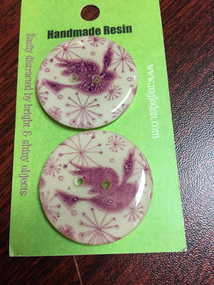 "Handmade Resin Buttons - 1 1/4"" diameter-Button-Pink Bird-"