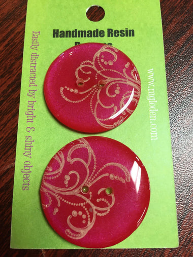 "Handmade Resin Buttons - 1 1/4"" diameter Red Swirl - 1"