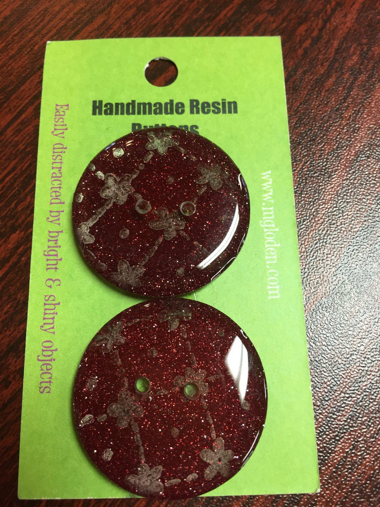 "Handmade Resin Buttons - 1 1/4"" diameter Red Glitter - 5"