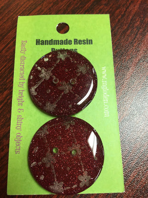 "Handmade Resin Buttons - 1 1/4"" diameter-Button-Red Glitter-"