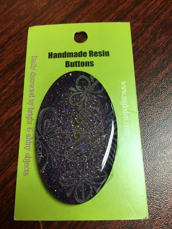 Handmade Resin Button, Oval Purple Glitter - 3