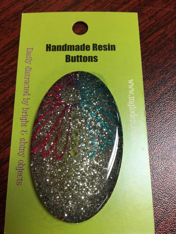 Handmade Resin Button, Oval Rainbow Glitter - 4