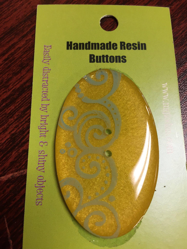 Handmade Resin Button, Oval Yellow - 5