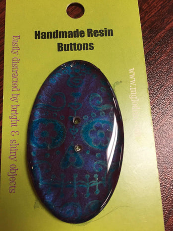 Handmade Resin Button, Oval  - 6
