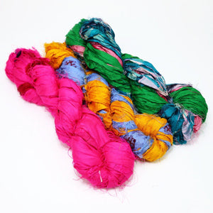 Recycled Multicolor Sari RIBBON YARN from Nepal 100g 25yd-Yarn-