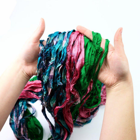 Recycled Multicolor Sari RIBBON YARN from Nepal 100g 25yd