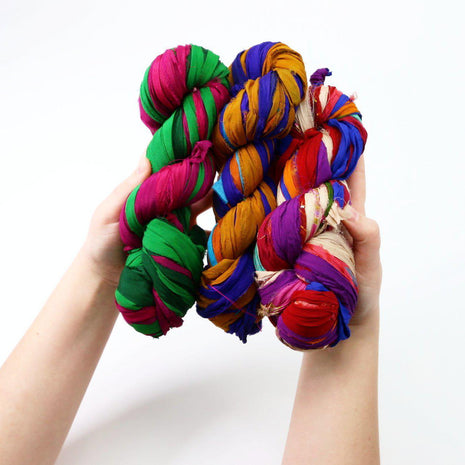 Recycled Multicolor Sari RIBBON YARN from Nepal 100g 25yd-Yarn-Paradise Fibers