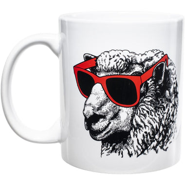 Knit Happy Mug - Sheep in Red Sunglasses-Accessories-Paradise Fibers